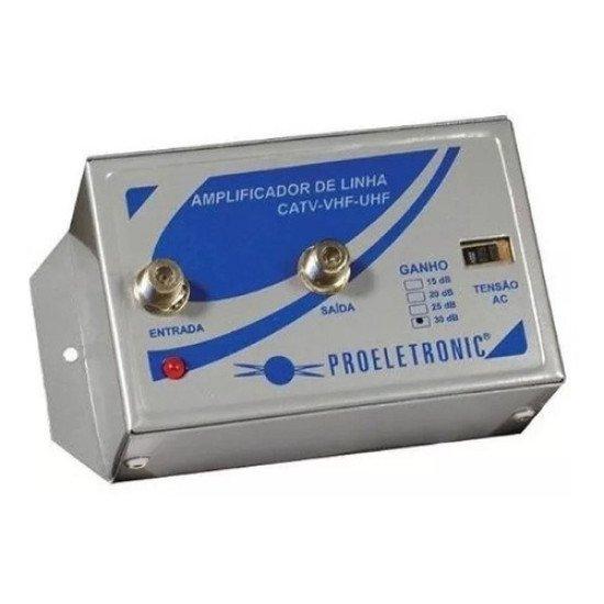 Amplificador De Linha 30db Antena Sinal Digital Uhf Tv Cabo PQAL-3000