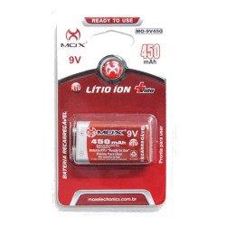 Bateria Pilha 9v Mox 450 Mah Recarregável LítioMO-9V450-RTU