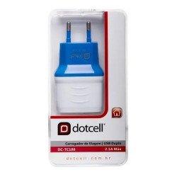 Carregador De Viagem Dotcell Dc-tc100 Com 2 Portas Usb - Azul