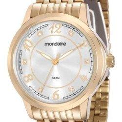 Elegante Relógio Feminino Mondaine 83336lpmvde2 De Vltrine - Dourado - Prata