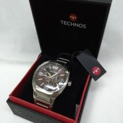 Elegante Robusto Relógio Masculino Technos 6p29it/k1m Prata - Prateado - Prateado - Marrom