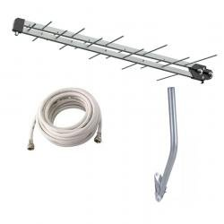 Kit Antena Tv Uhf Digital Hd 20 Elemento Cabo Coaxial 15m Mastro