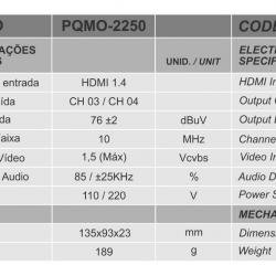 Modulador Hdmi Para Canal 3 Ou 4 Tv Pqmo-2250 Proeletronic Motel H Conversor Hdm Ito Rfcanal 3 Ou 4 Cftv Uhf