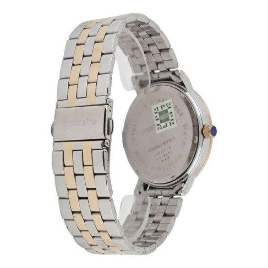 Relógio Fem. Mondaine Prata E Dourado 94808lpmvbe2 C/ Strass - Prata e Dourado - Dourado - Madrepérola