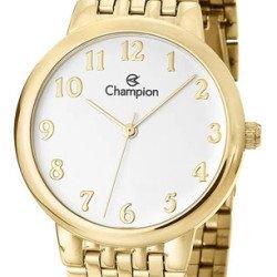 Relógio Feminino Champion Ch22911w Dourado C/ Branco Vltrine - Dourado