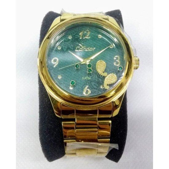 Relógio Feminino Condor Co2039ad/4v Visor C/ Enfeite Vltrine - Dourado - Verde