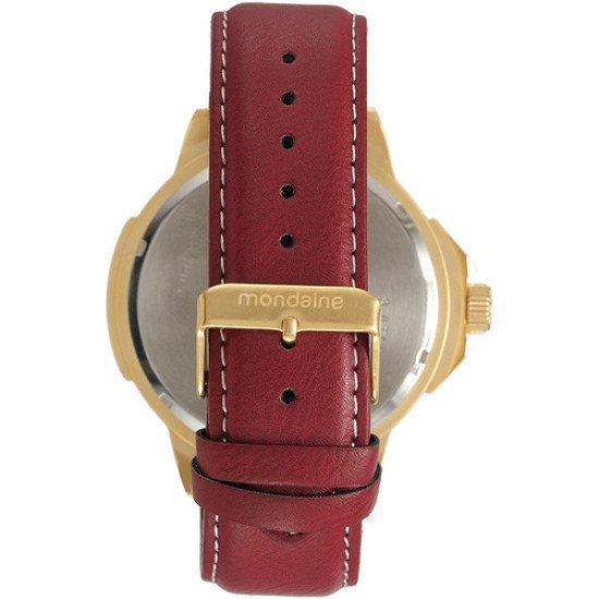 Relógio Mondaine Grande 76499gpmvdh Dourado De Couro Vltrine - Bordô - Dourado - Marrom-escuro